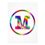 Letter M Rainbow Personalised Invitation