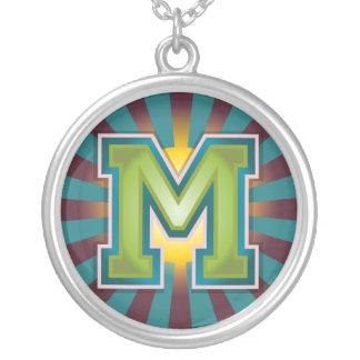 Letter 'M' Round Pendant Necklace