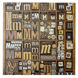 Letter M Large Square Tile
