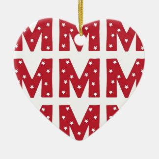 Letter M - White Stars on Dark Red Ceramic Heart Decoration