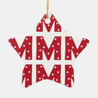 Letter M - White Stars on Dark Red Christmas Ornament