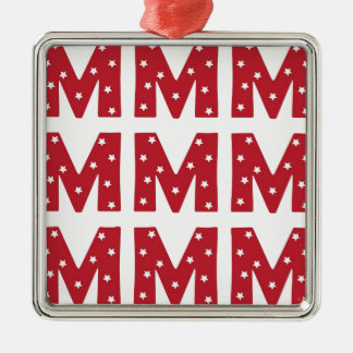 Letter M - White Stars on Dark Red Christmas Ornament