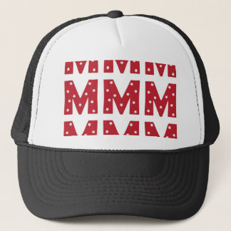 Letter M - White Stars on Dark Red Trucker Hat