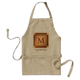 Letter M: Wood Look Initial with Custom Text Standard Apron
