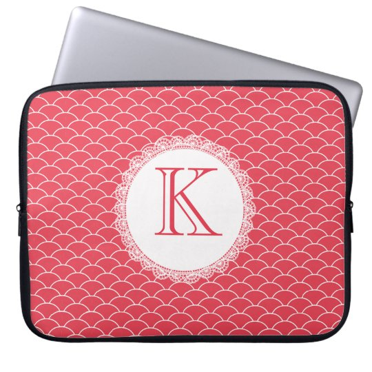 Letter Monogram Poppy Red Designer Laptop Bag Computer