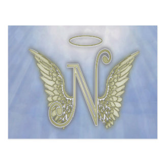 Letter N Angel Monogram Postcard
