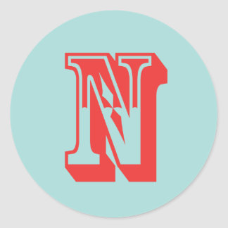Letter N carnival style monogram initial favor Classic Round Sticker