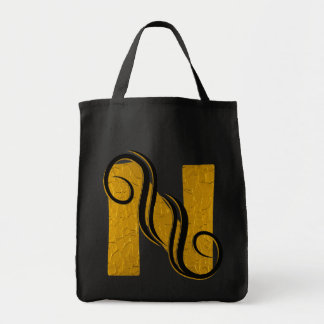 Letter N Gold - Square Button Grocery Tote Bag