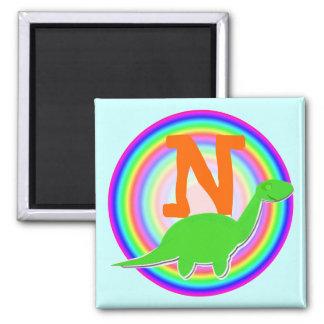 Letter N Green Dinosaur Diplodocus Fridge Magnet