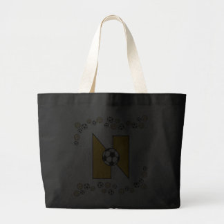 Letter N in Soccer Gold Monogram Tote Canvas Bags