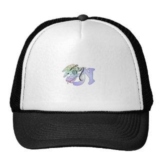 Letter N Initial Monogram Guardian Angel Blue Past Trucker Hat