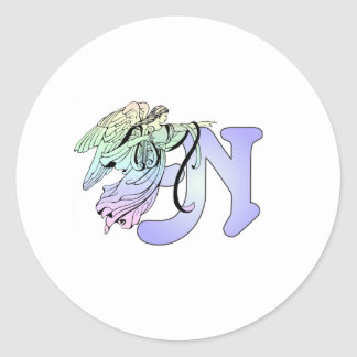 Letter N Initial Monogram Guardian Angel Blue Past Round Sticker