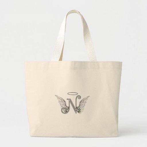 Letter N Initial Monogram with Angel Wings & Halo Bag