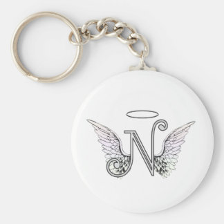 Letter N Initial Monogram with Angel Wings & Halo Basic Round Button Key Ring