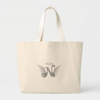 Letter N Initial Monogram with Angel Wings & Halo Large Tote Bag