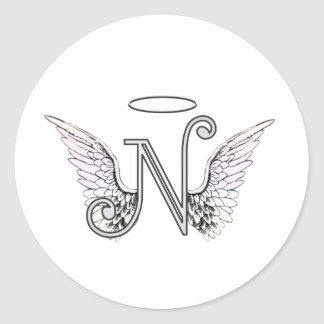 Letter N Initial Monogram with Angel Wings & Halo Round Sticker
