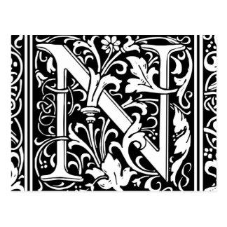 Letter N Medieval Monogram Vintage Initial Postcard