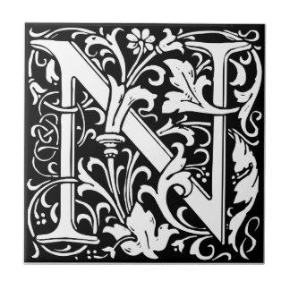 Letter N Medieval Monogram Vintage Initial Small Square Tile