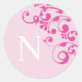 Letter N Monogram Pink Wedding Envelope Seals Round Sticker