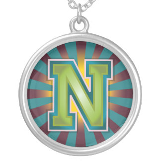 Letter 'N' Round Pendant Necklace