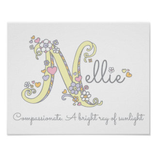 Letter N Nellie initial doodle art name meaning Poster