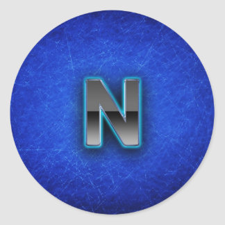 Letter N - neon blue edition Round Sticker