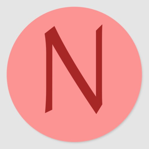 Letter N Rose Wine Round Stickers