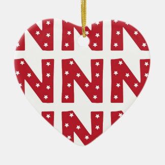 Letter N - White Stars on Dark Red Ceramic Heart Decoration