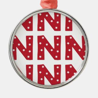 Letter N - White Stars on Dark Red Christmas Ornament