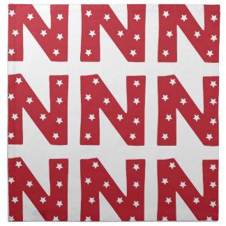 Letter N - White Stars on Dark Red Printed Napkins