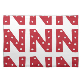 Letter N - White Stars on Dark Red Placemat