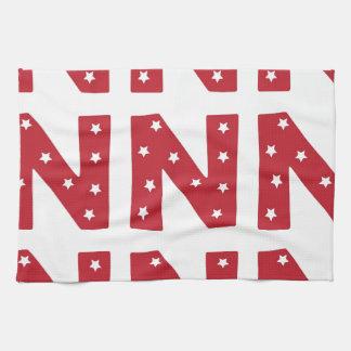 Letter N - White Stars on Dark Red Towel