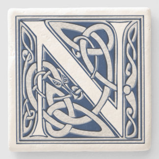 Letter N with Celtic Dragons Stone Coaster