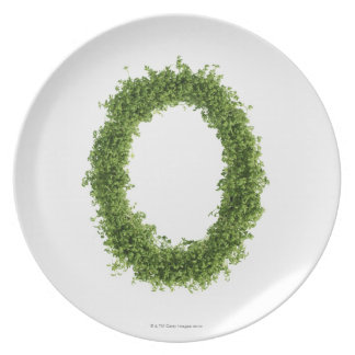 Letter 'O' in cress on white background, Plate
