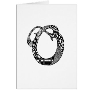 Letter O Monogram in Black and White Card