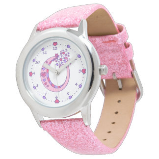 Letter O pink monogram personalized girls watch