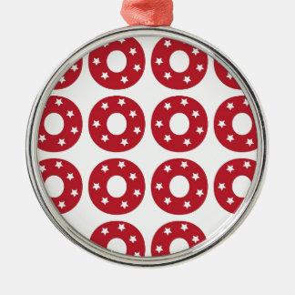 Letter O - White Stars on Dark Red Christmas Ornament