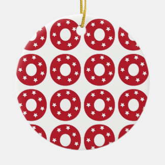 Letter O - White Stars on Dark Red Christmas Ornament