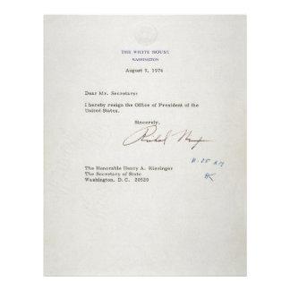 Letter of Resignation of Richard M. Nixon 1974 Personalized Letterhead