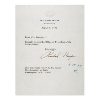 Letter of Resignation of Richard M. Nixon 1974 Postcard