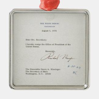 Letter of Resignation of Richard M. Nixon 1974 Silver-Colored Square Decoration