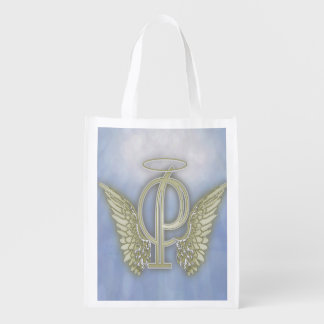 Letter P Angel Monogram Reusable Grocery Bag