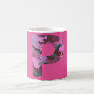Letter P Camo with Pink Coffee Mug