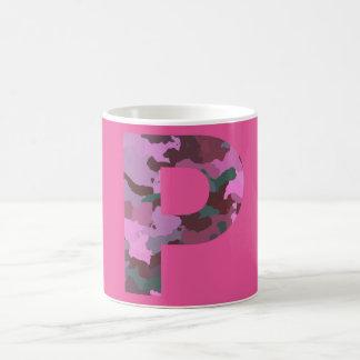 Letter P Camo with Pink Coffee Mug