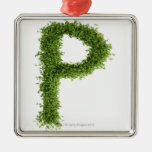 Letter 'P' in cress on white background, Christmas Tree Ornaments