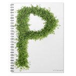 Letter 'P' in cress on white background, Spiral Note Book