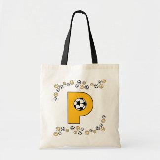 Letter P in Soccer Gold Monogram Tote Bag