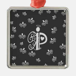 Letter P Initial Monogram with Angels Christmas Ornament