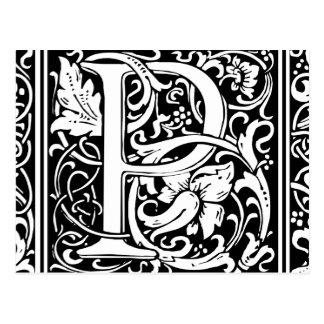 Letter P Medieval Monogram Vintage Initial Postcard