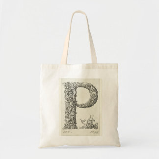 Letter 'P' Monogram Budget Tote